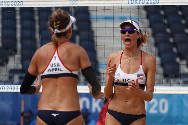 <p>April Ross #1 of Team United States and Alix Klineman #2 react after the play against Team Germany during the Women's Quarterfinal beach volleyball on day eleven of the Tokyo 2020 Olympic Games at Shiokaze Park on August 03, 2021 in Tokyo, Japan.</p>