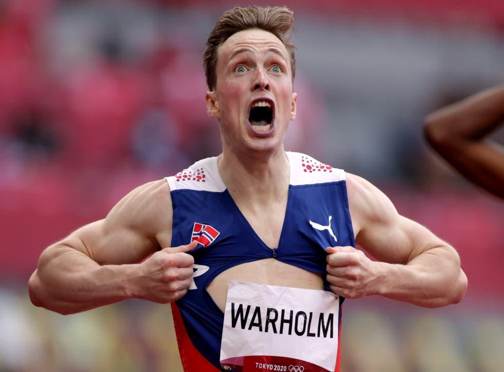 <p>Karsten Warholm celebrates incredible run</p>