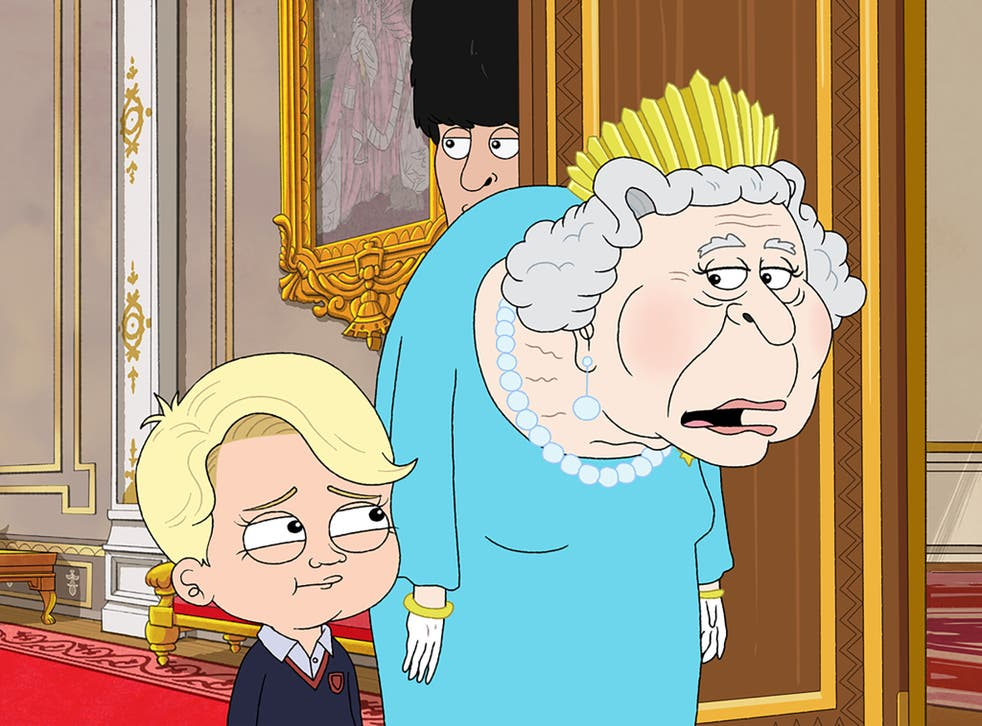<p>Royal mess: Prince George and the Queen in HBO Max's 'The Prince'</p>