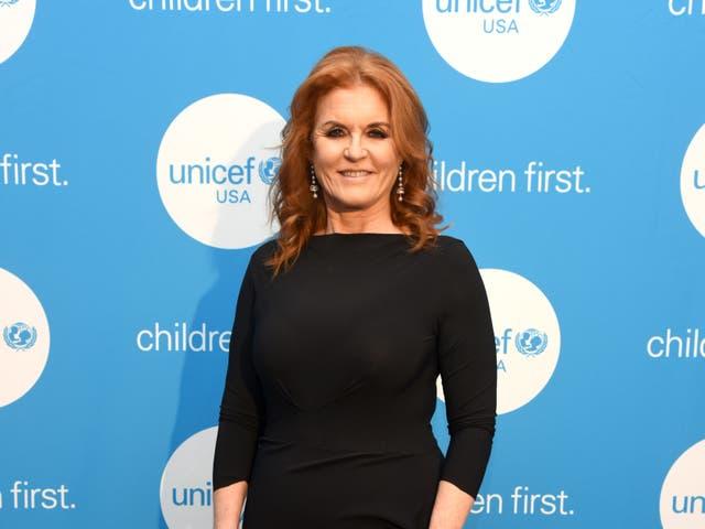 <p>Sarah Ferguson at the UNICEF Gala in 2019</p>