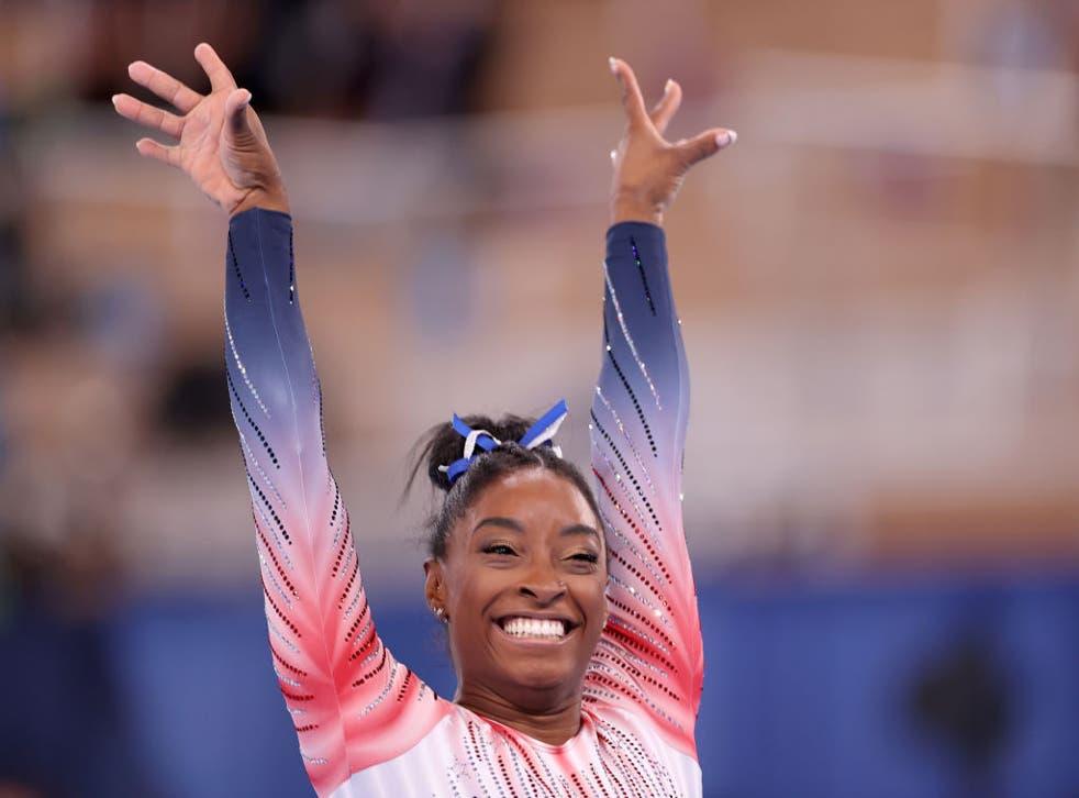 <p>Simone Biles wins bronze in the beam final at Tokyo 2020</p>