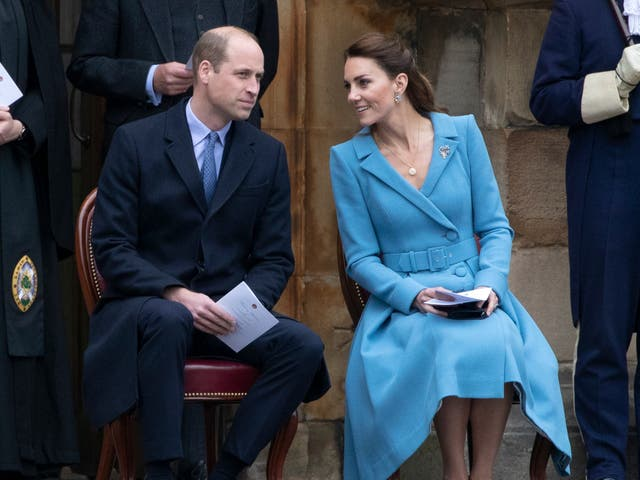 <p>Prince William and Kate Middleton attend the  Beating of the Retreat at the Palace of Holyroodhouse on May 27, 2021 </p>