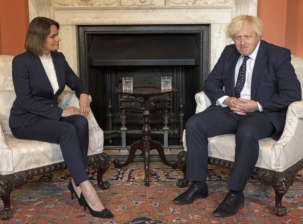 <p>Belarusian opposition leader Sviatlana Tsikhanouskaya meets Boris Johnson at No 10</p>