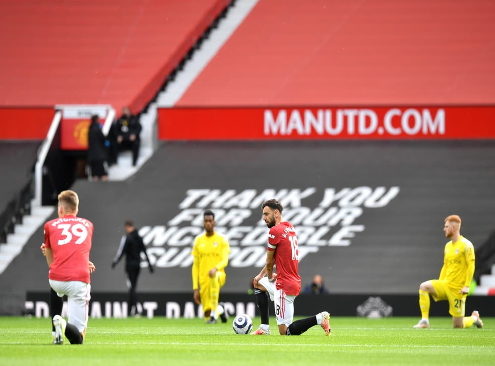 <p>Premier League players will continue to take the knee this season</p>