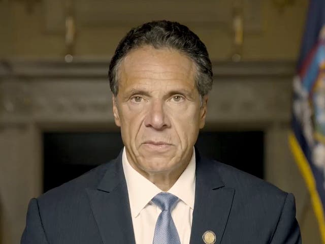 <p>Andrew Cuomo makes a statement on a pre-recorded video released, Tuesday3 August 2021, in New York</p>