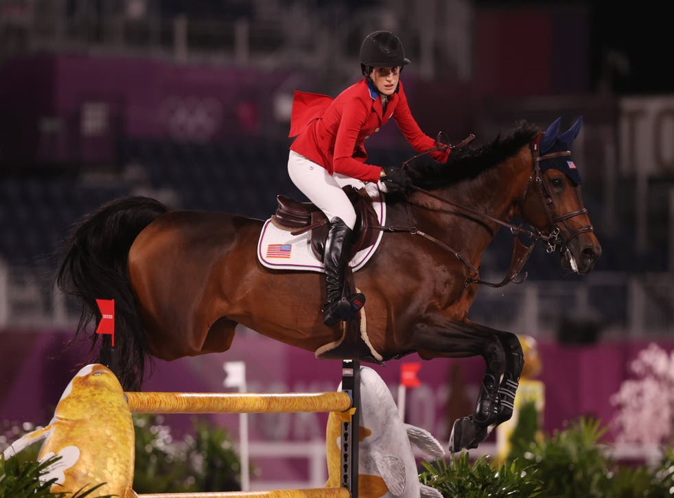 <p>Jessica Springsteen of Team United States riding Don Juan Van De Donkhoeve competes during the Jumping Individual Qualifier on day eleven of the Tokyo 2020 Olympic Games at Equestrian Park on August 03, 2021 in Tokyo, Japan.</p>