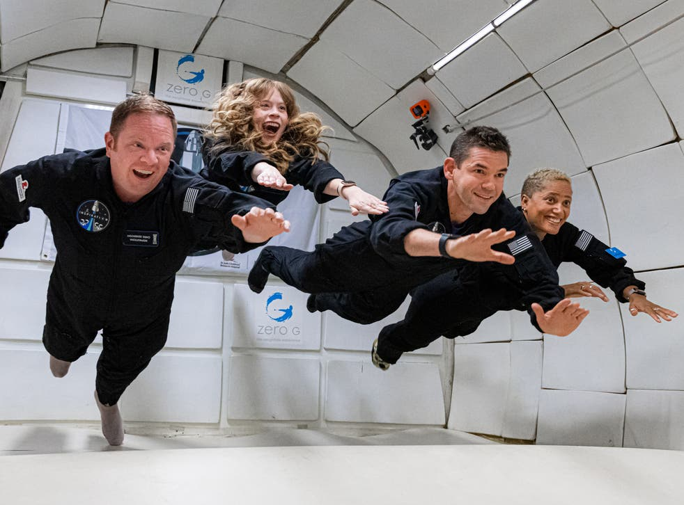 <p>Chris Sembroski, Hayley Arceneaux, Jared Isaacman, and Dr Sian Proctor in 'Countdown: Inspiration4 Mission to Space'</p>