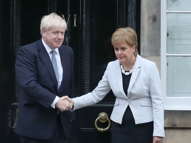 <p>Boris Johnson and Nicola Sturgeon meet in Edinburgh in 2019 – on his most recent trip, the prime minister avoided a meeting</p>