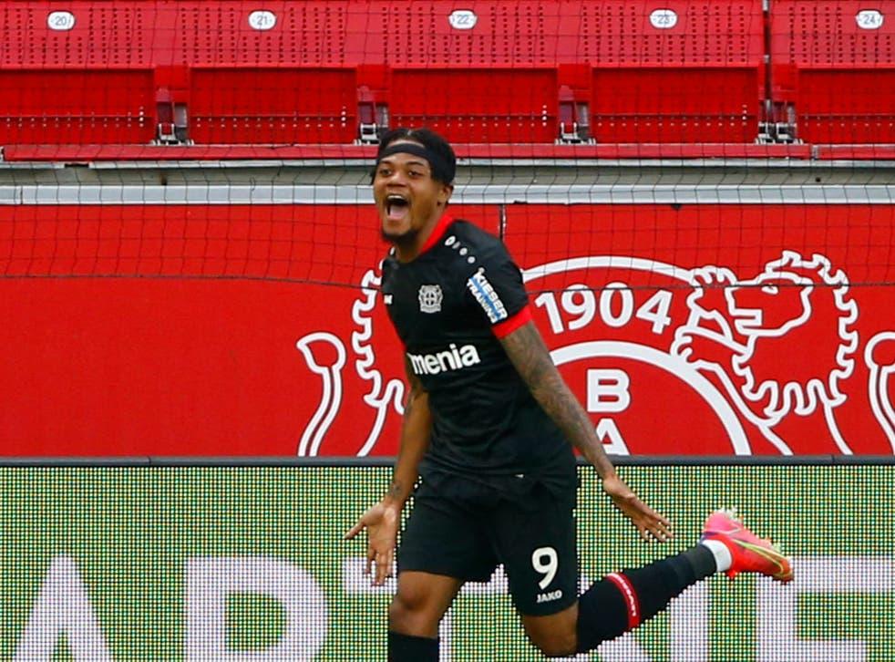 <p>Leon Bailey celebrates scoring for Bayer Leverkusen</p>