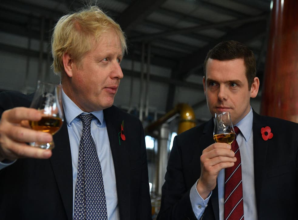 <p>Boris Johnson with Scottish Conservative leader Douglas Ross in 2019</p>
