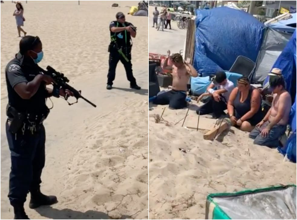 <p>The LAPD has responded after a video showing heavily armed police officers raiding a homeless camp in Venice Beach went viral, garnering millions of views. </p>