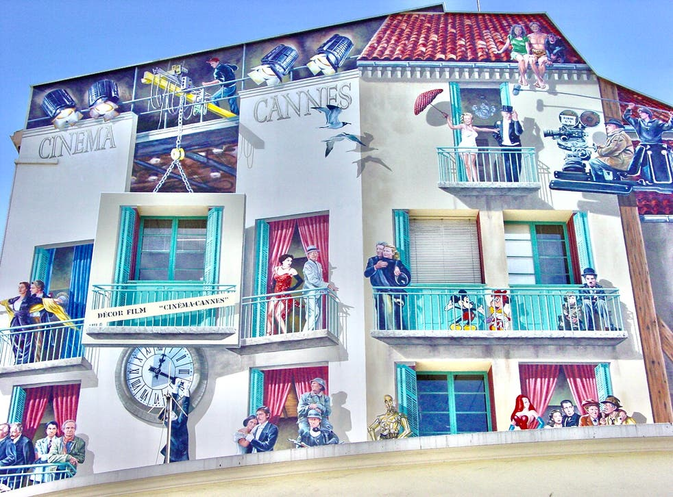 <p>Now showing: Mural at the bus station at Cannes, southern France, which will be more accessible to British travellers</p>