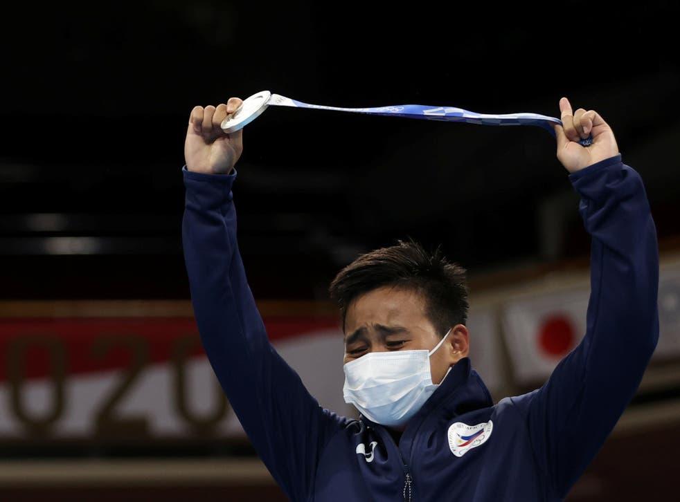 <p>Silver medallist Nesthy Petecio of the Philippines</p>