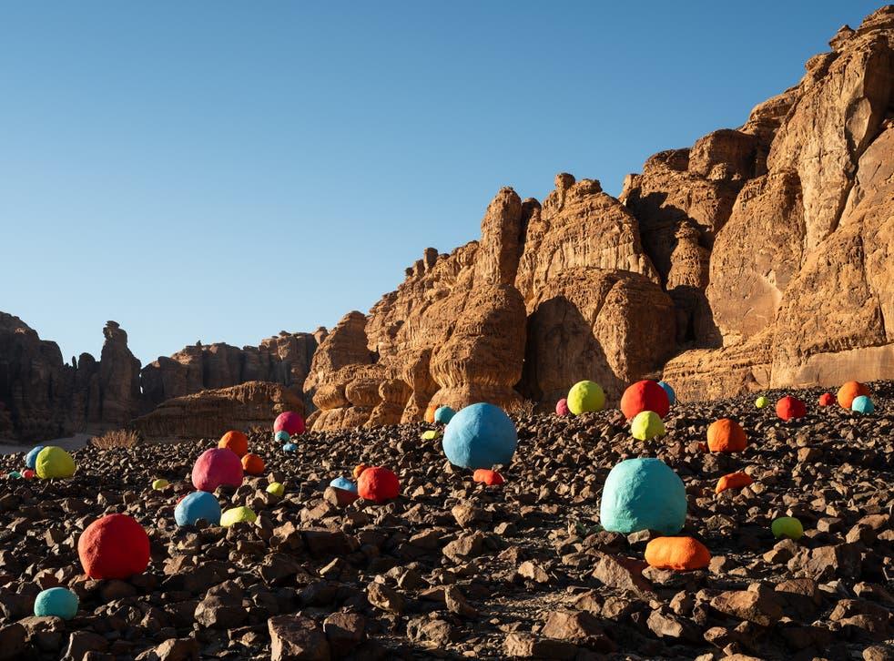 <p>Mohammed Ahmed Ibrahim, installation view of Falling Stones Garden, 2020, at Desert X AlUla 2020</p>