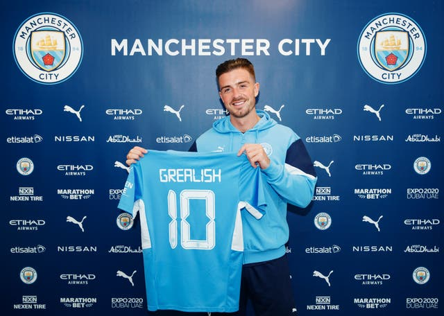<p>Manchester City unveil new signing Jack Grealish at Manchester City Football Academy</p>