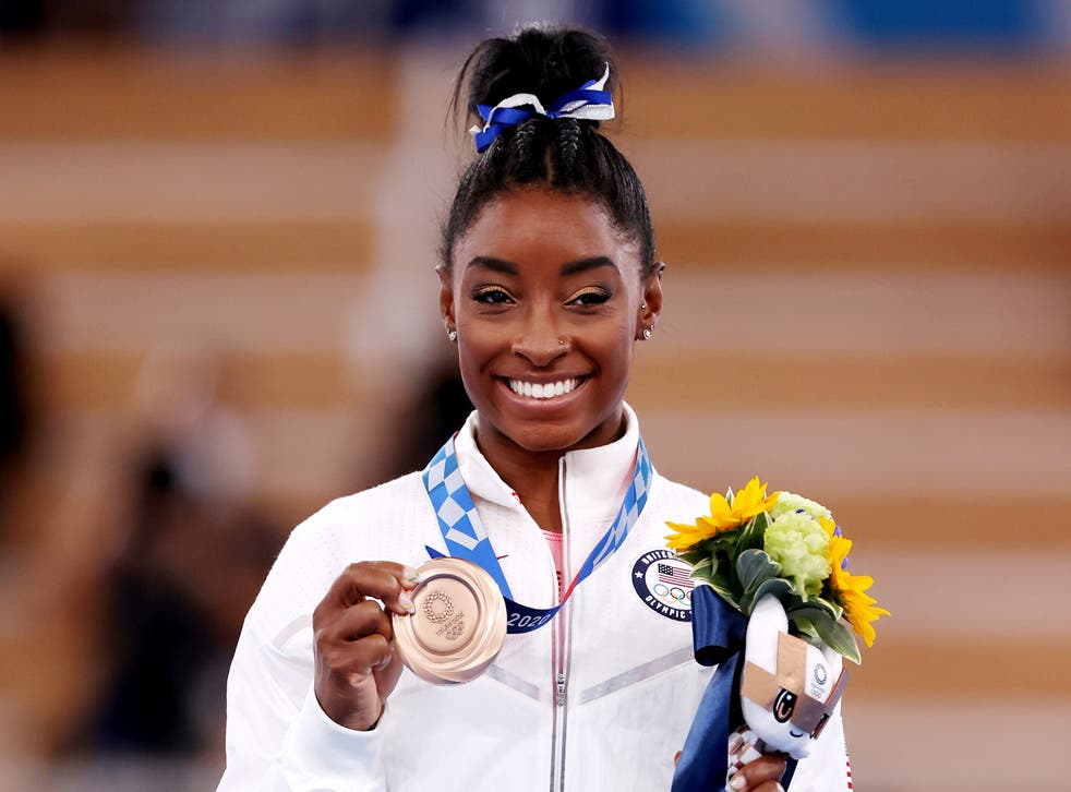 <p>Simone Biles secured an individual bronze medal and a team silver at Tokyo 2020 </p>