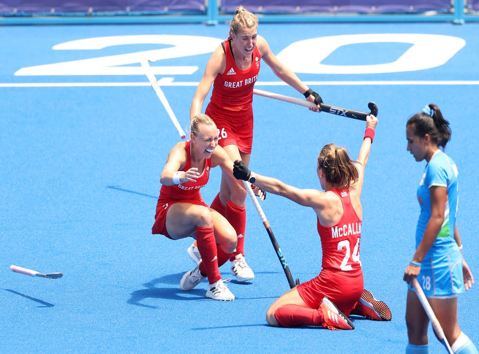 <p> Shona McCallin and Lily Owsley of Team Great Britain celebrate after winning the Women's Bronze medal match between Great Britain and India</p>