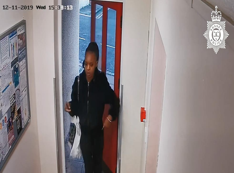 <p>CCTV footage of Verphy Kudi returning to her home in Brighton, where she had left her 20-month old daughter alone for five days</p>