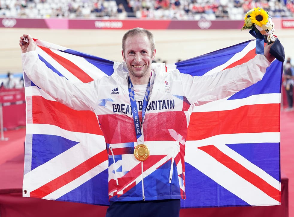 Great Britain's Jason Kenny celebrates his keirin gold medal at the Izu Velodrome – his ninth Olympic medal and his seventh gold (Danny Lawson/PA Images).