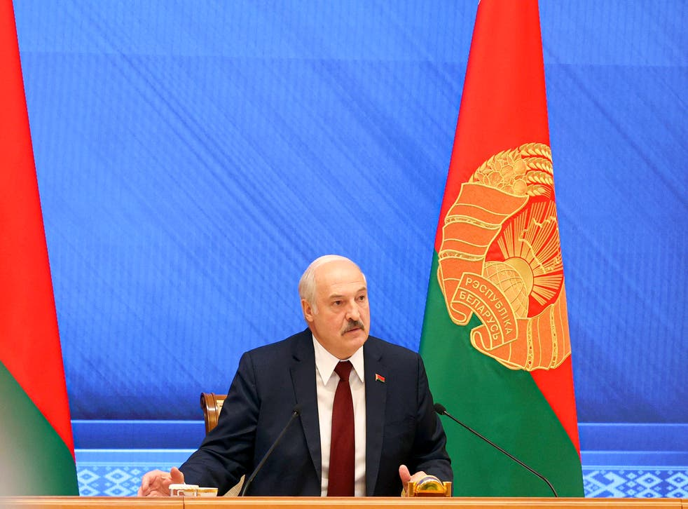 <p>Belarusian president Alexander Lukashenko speaks during an annual press conference in Minsk, Belarus</p>