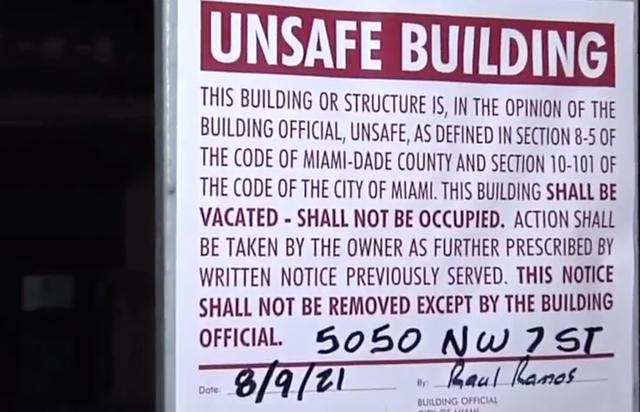 Un edificio residencial de Miami recibe una orden de evacuación después de que se considera inseguro