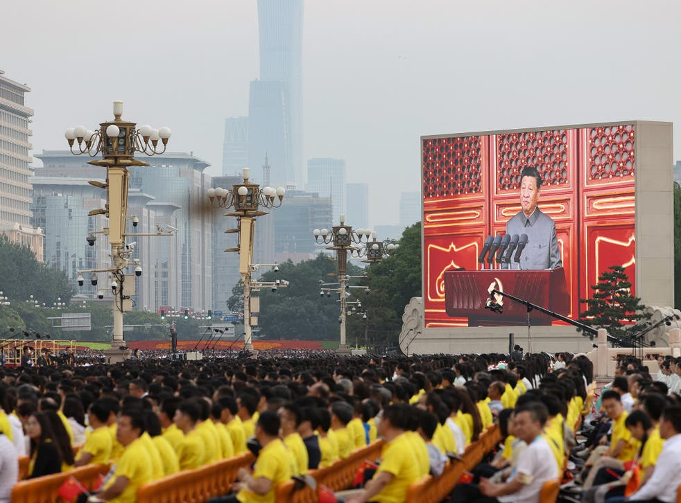 <p>File: A large screen shows Chinese President Xi Jinping makes a speech during the celebration marking 100th anniversary of Chinese Communist Party at Tiananmen  Square in Beijing.  </p>