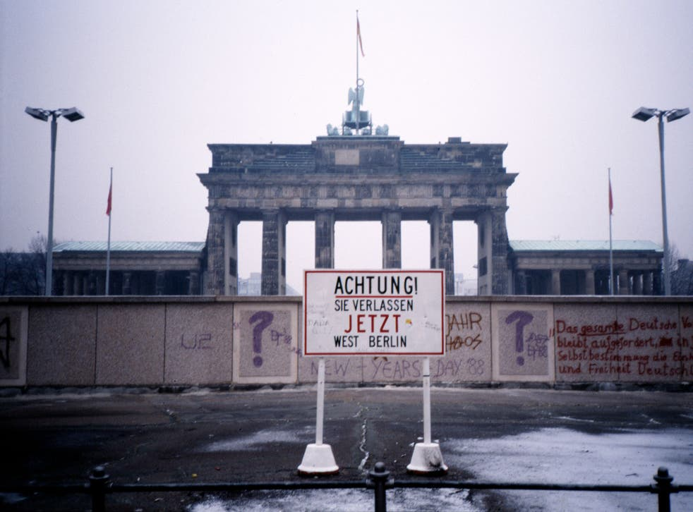 <p>East Berlin, the Wall and the Brandenburg Gate in 1988</p><p></p>