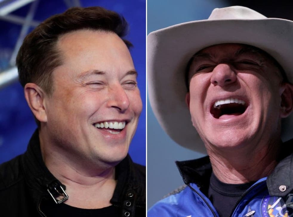 <p>Elon Musk and Jeff Bezos are the two wealthiest people on the planet - and both are competing to get off it</p>