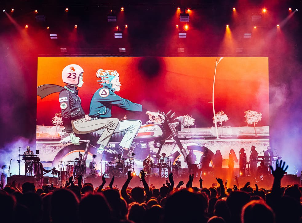 <p>The Gorillaz performing with Peter Hook at the O2 Arena in London </p>