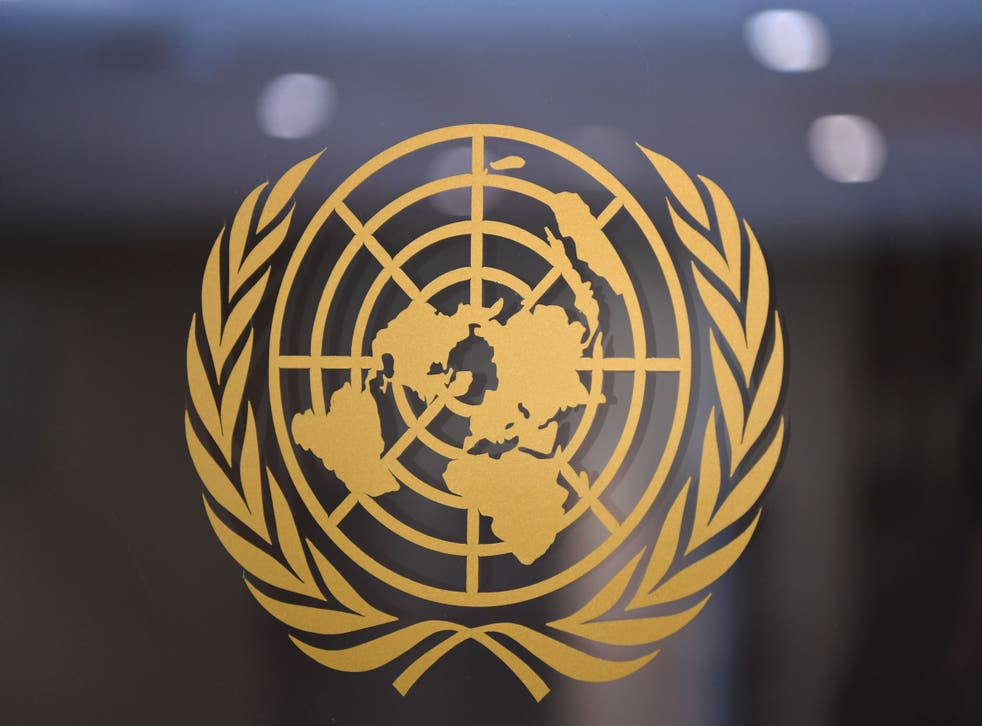 <p>United Nations logo is seen inside the United Nations on February 25, 2021 in New York City</p>