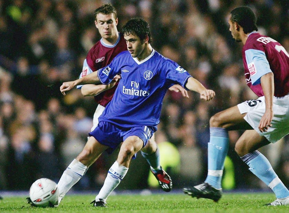 <p>Joe Cole in action against his former club West Ham for Chelsea in 2004</p>