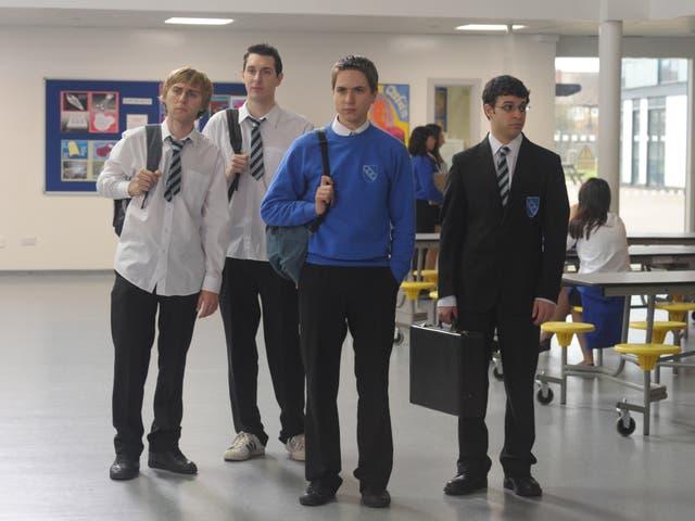 <p>The lads: James Buckley, Blake Harrison, Joe Thomas and Simon Bird in 'The Inbetweeners Movie', 2011</p>