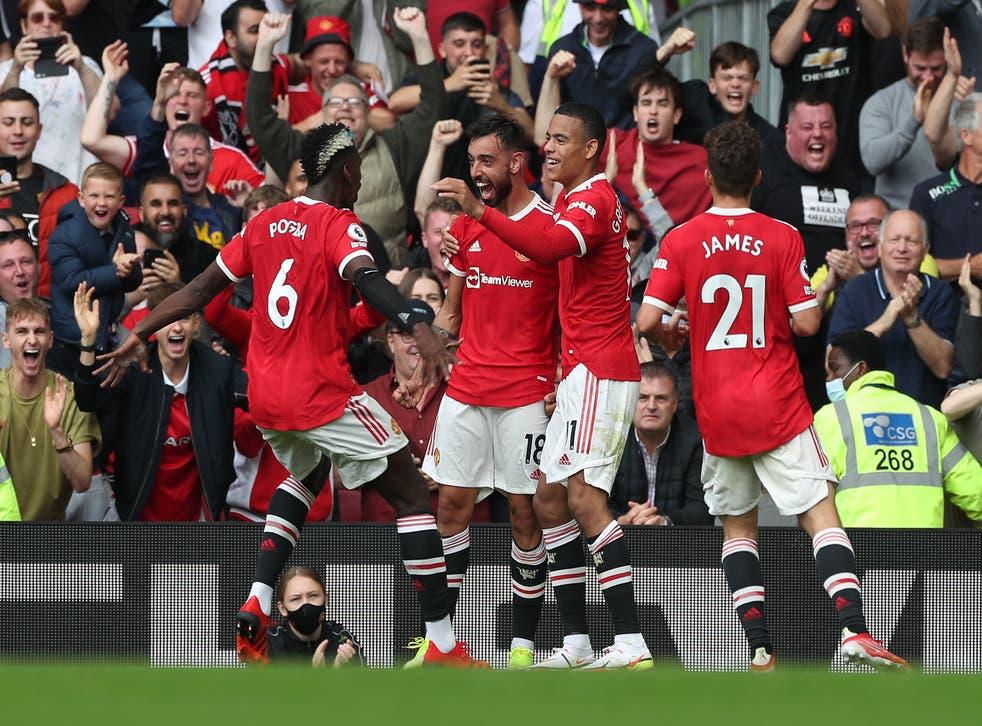 <p>Bruno Fernandes celebrates scoring for Manchester United </p>