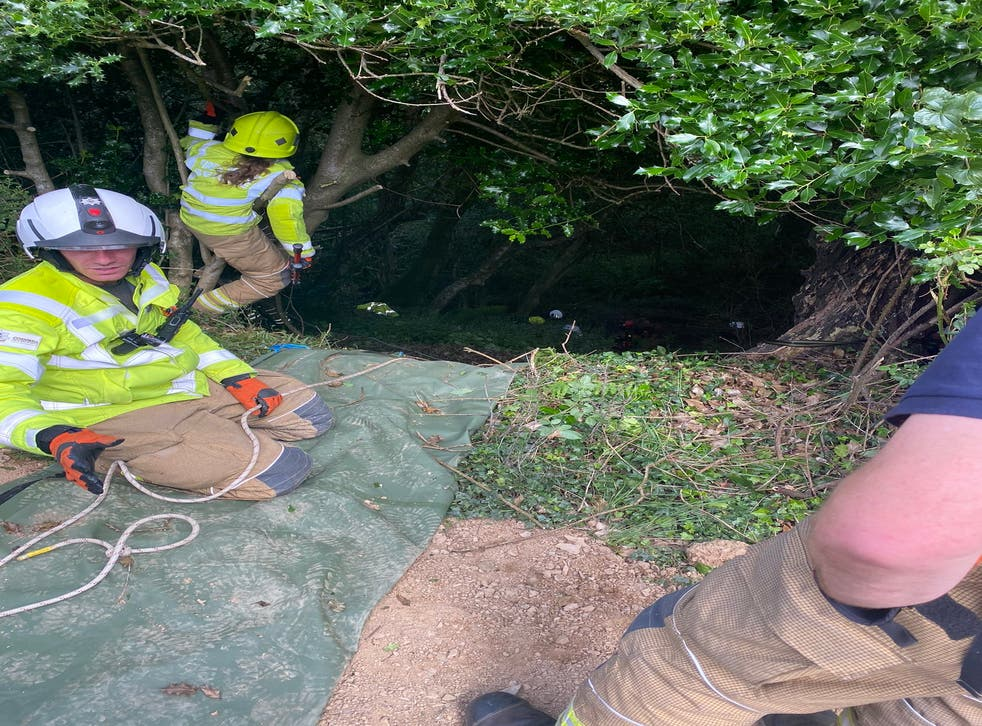 <p>Bodmin Police rescued the woman from 70ft down a ravine</p>