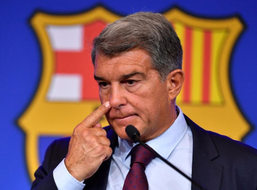 <p>President of FC Barcelona Joan Laporta holds a press conference</p>