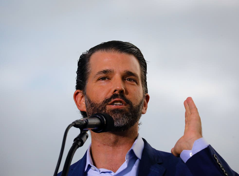 <p>Donald Trump Jr speaks at a political rally </p>