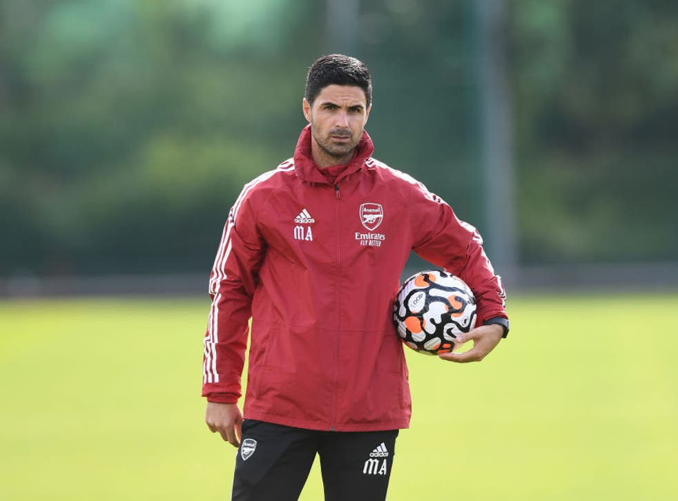 <p>Arsenal manager Mikel Arteta during a training session at London Colney</p>
