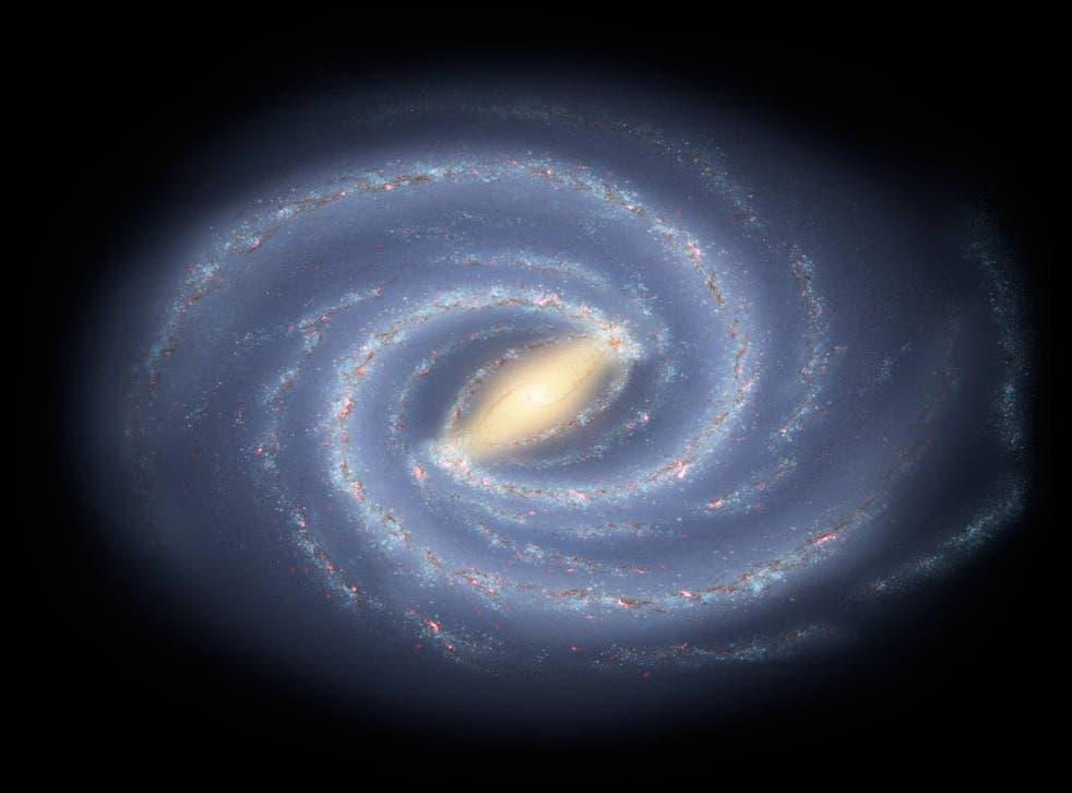 El concepto del artista ilustra la nueva visión de la Vía Láctea con dos brazos principales.