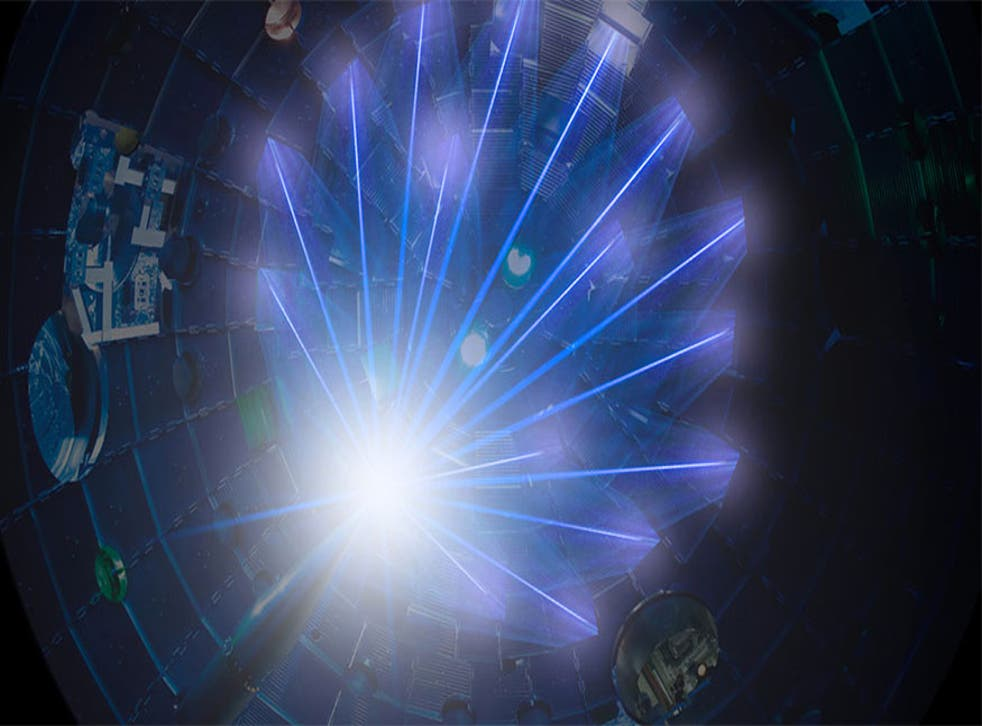 <p>NIF's high-energy laser beams converge on a target at the centre of the target chamber</p>