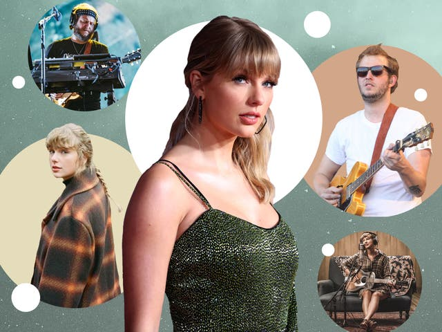 <p>Enigmatic meets earnest: Justin Vernon and Taylor Swift</p>