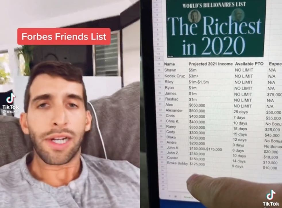 <p>Man baffles viewers after sharing spreadsheet breaking down friends by their incomes </p>
