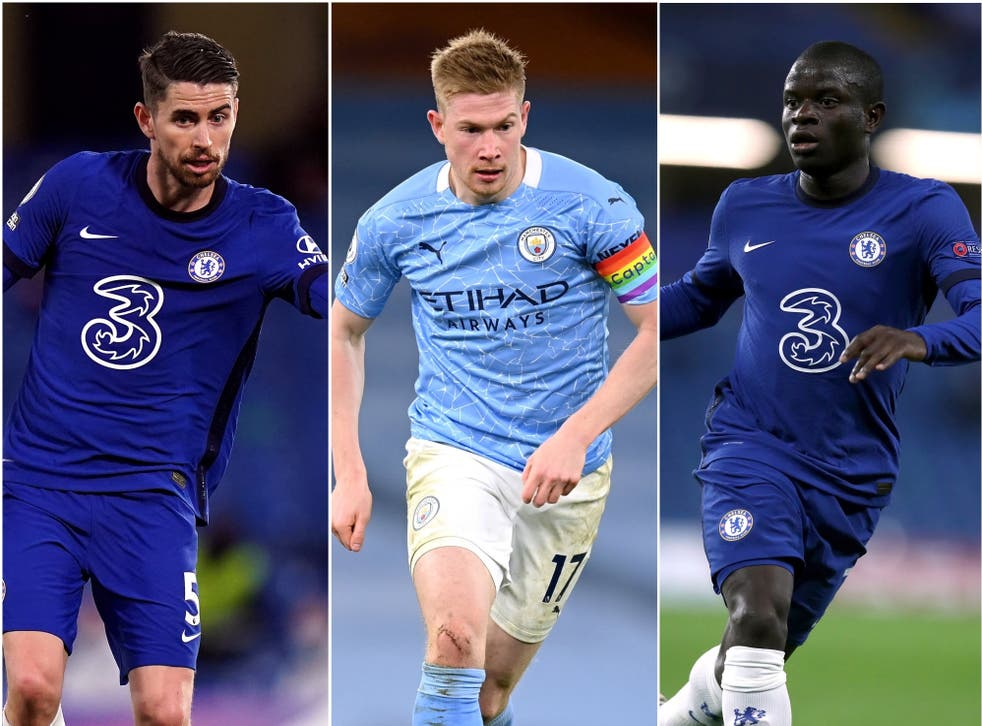 Jorginho, Kevin De Bruyne and N'Golo Kante have been shortlisted for UEFA Men's Player of the Year (PA)