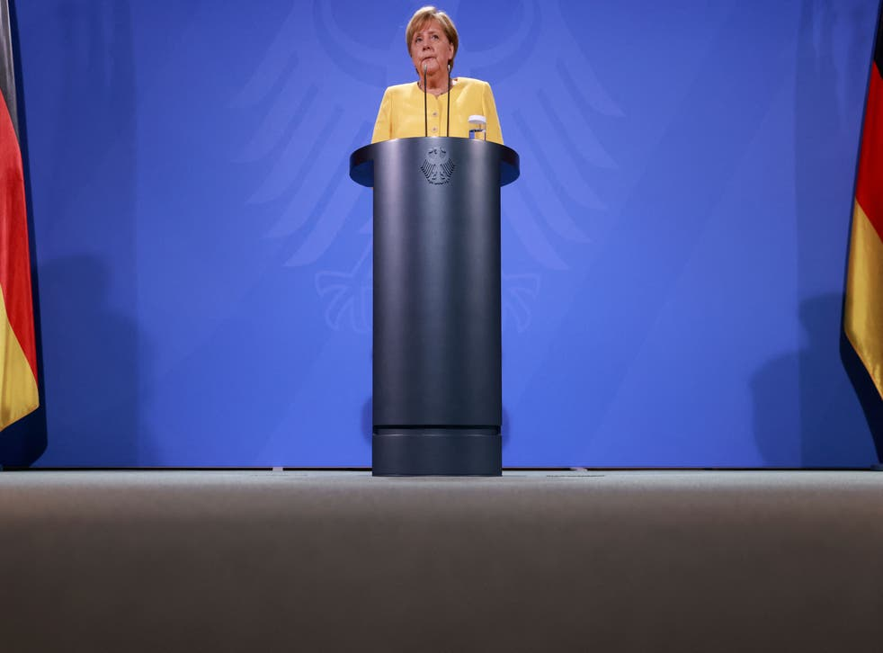 <p>Angela Merkel gives a press statement on developments in Afghanistan on August 16 2021</p>