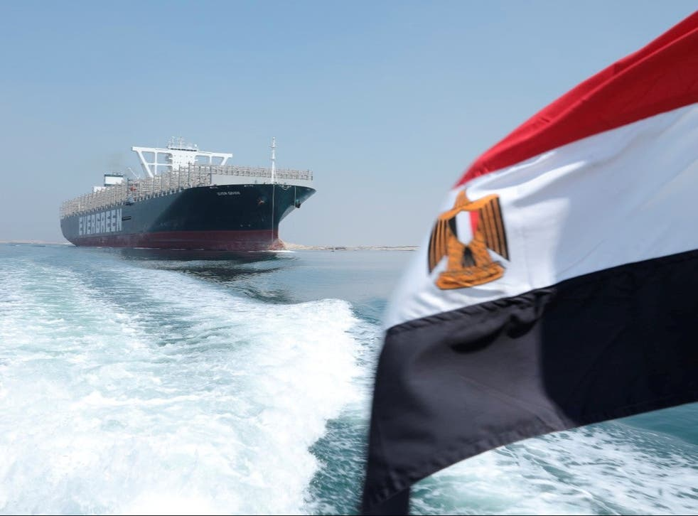 <p>Smooth sailing: the Ever Given in the Suez Canal yesterday </p>