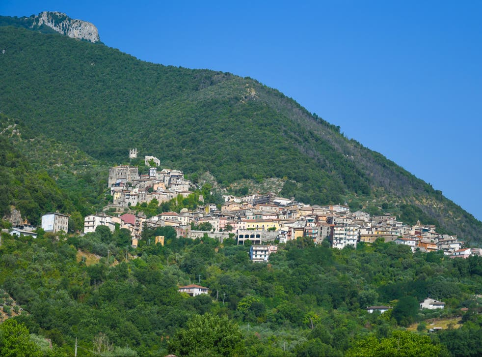 <p>Panoramic view of Maenza, a medieval town in the mountains of the Lazio region, Italy</p>
