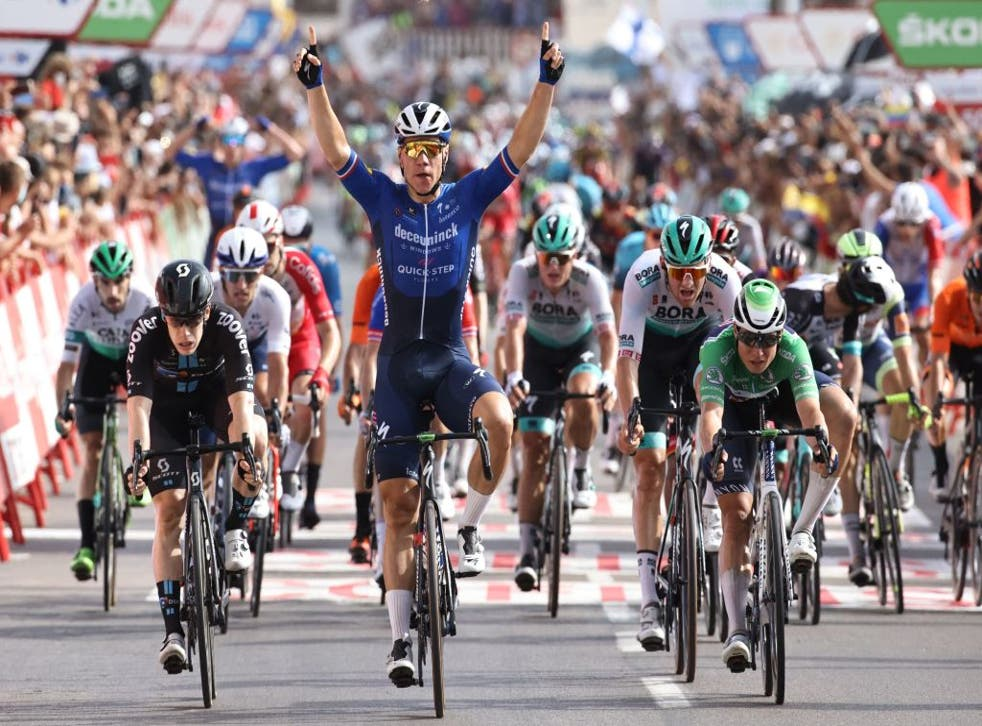 <p>Jakobsen also won Tuesday's stage three, a year after a horrific crash in the Tour of Poland</p>