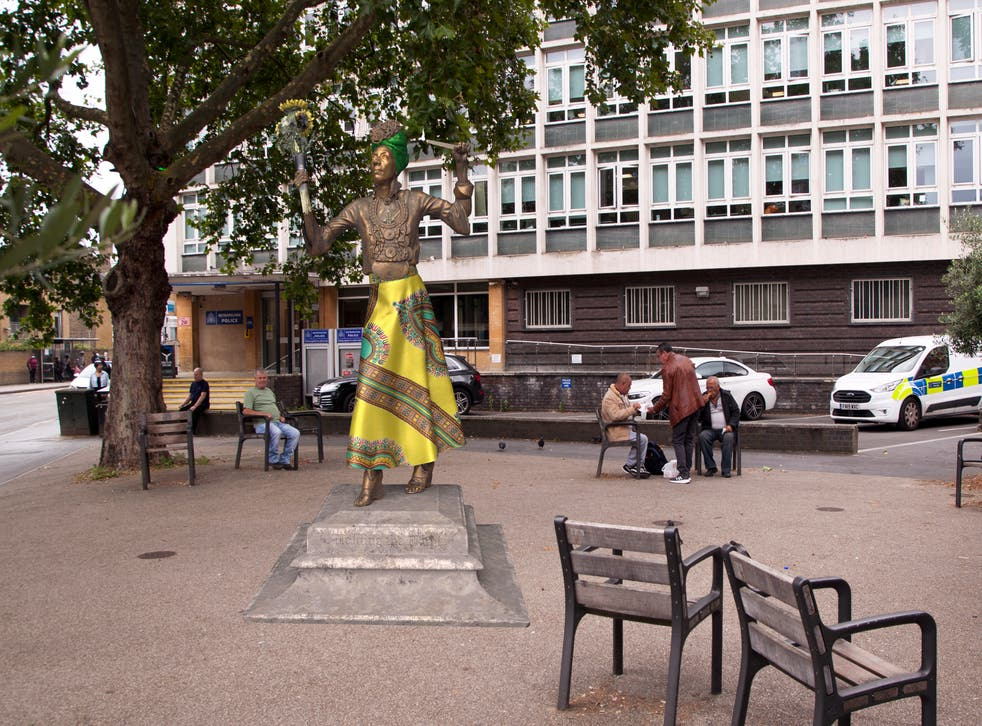 <p>Virtual statue of campaigner Marcia Rigg outside Brixton police station in south London</p>