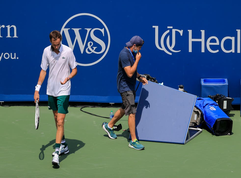 Daniil Medvedev collides with TV camera during semi-final defeat | The  Independent