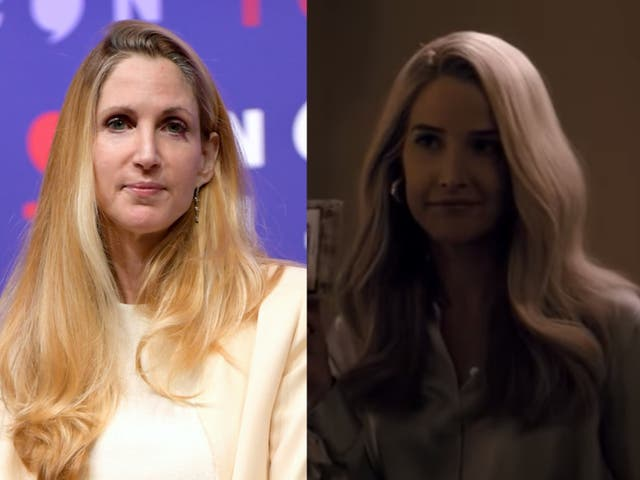 Cobie Smulders (derecha) interpreta a Ann Coulter (izquierda) en 'Impeachment: American Crime Story'