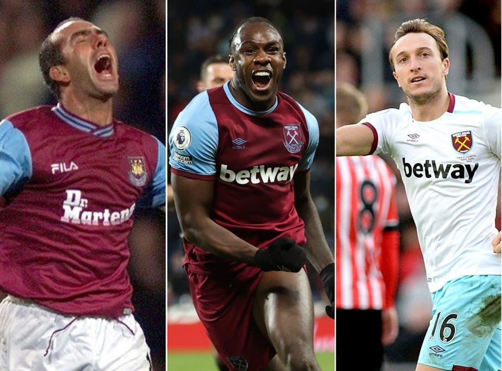<p>Michael Antonio (centre) has become West Ham's top Premier League goalscorer</p>